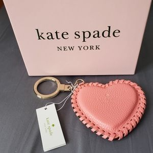 Kate Spade stitched heart keychain